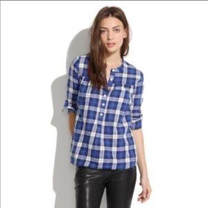Madewell Smocked Popover Boyshirt Blue Plaid Shirt